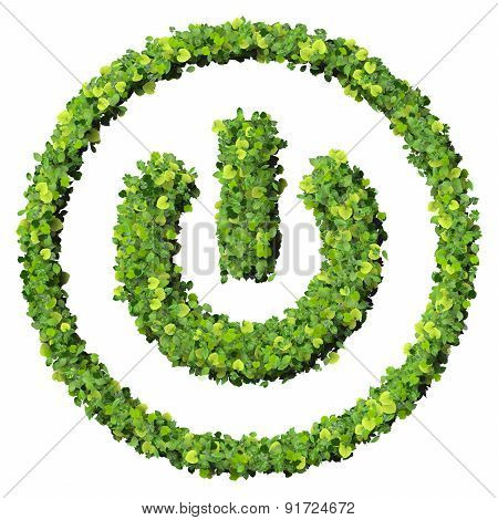 Media control, turn off eco icon made from green leaves.