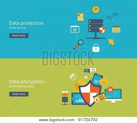 Set of flat design vector illustration concepts for data protection, safe work and data encryption.