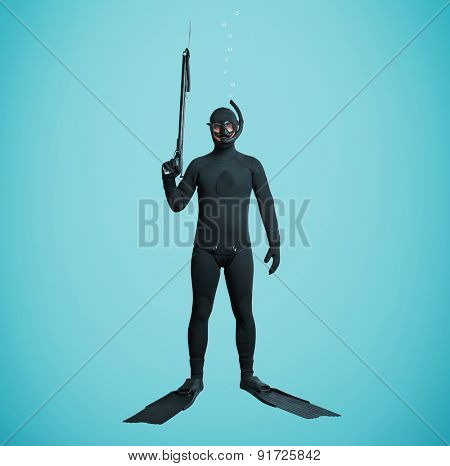 underwater fisherman in full equipment with spear fishing gun over blue background