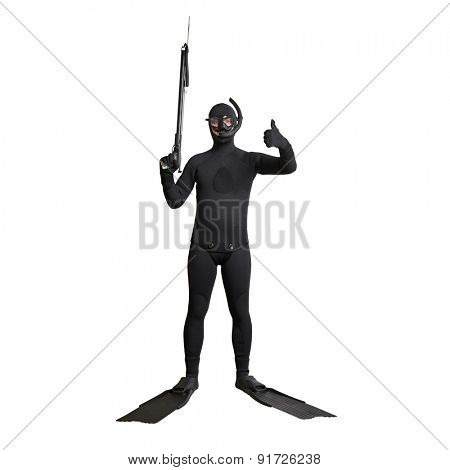 underwater fisherman in full equipment with spear fishing gun. isolated on white background
