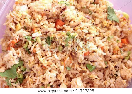 Fried Rice Put Crab On Dish