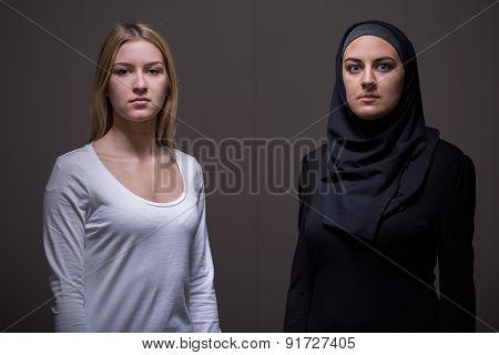Caucasian And Arab Women