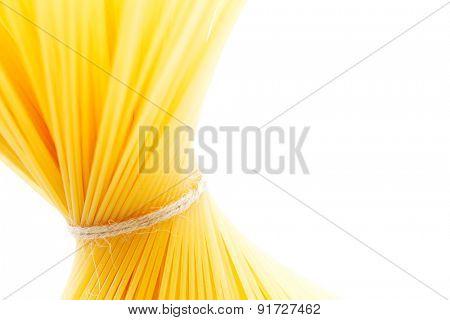 Dry spaghetti isolated on white background