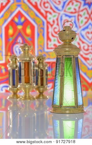 Four Shiny Lanterns Over Ramadan Fabric