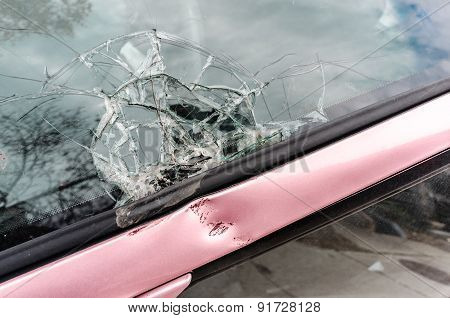 Broken Front Glass Of A Car