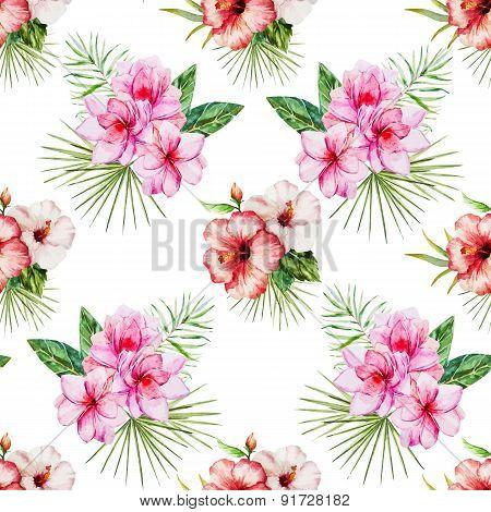 Watercolor tropical flral pattern