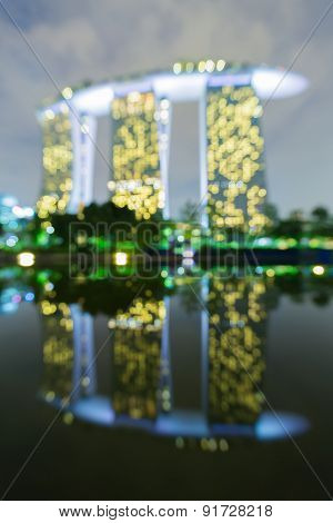 Bokeh light on Marina bay sand