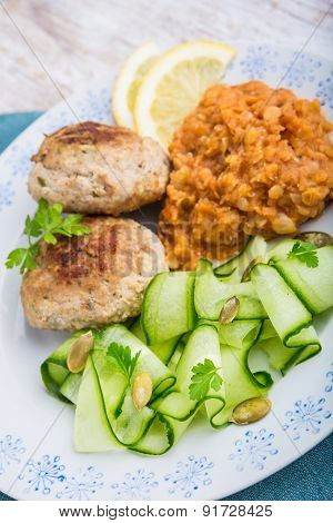 Delicious Fried Beef Meatball, Lentils And Salad With Fresh Cucumber