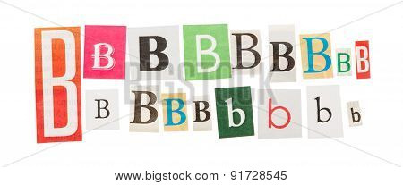 Letters B from newspapers
