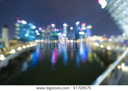 Blur bokeh light abstract view of Singapore city night