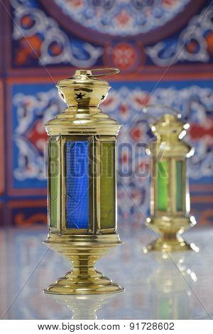 Two Shiny Lanterns Over Ramadan Fabric