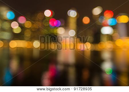 Night lights of Singapore city Abstract blurred photo