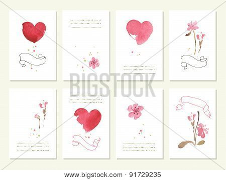 Hand drawn collection of romantic floral invitations.   Isolated. Vector watercolor