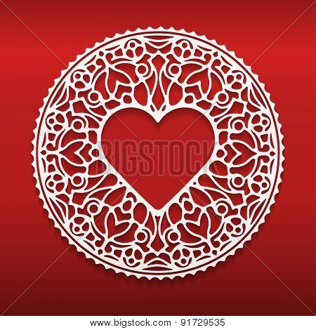 Circle lace ornament round ornamental geometric doily pattern with heart shaped empty space for text