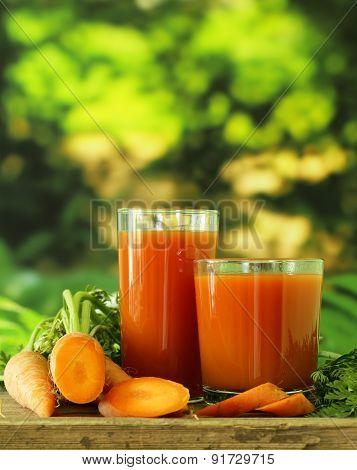 Natural organic carrot fresh juice - healthy food