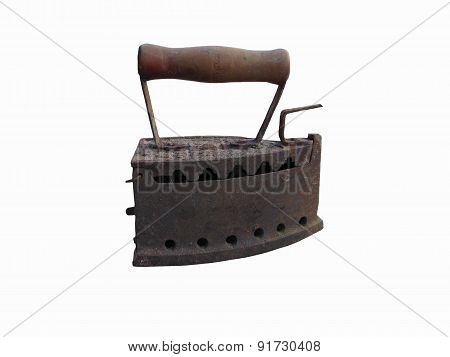 Old Rusty Iron On White Background