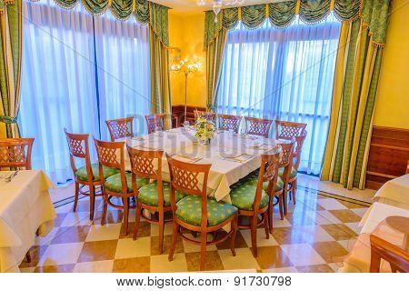 Classic dining room in luxury restaurant hotel.