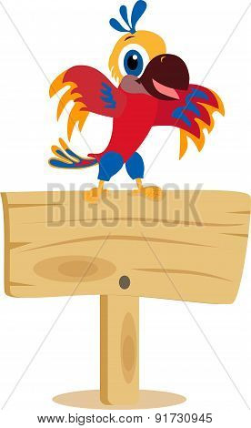 Parrot on a wooden board