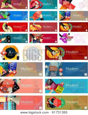 Mega collection of flat design infographic banners with stickers for sale and other