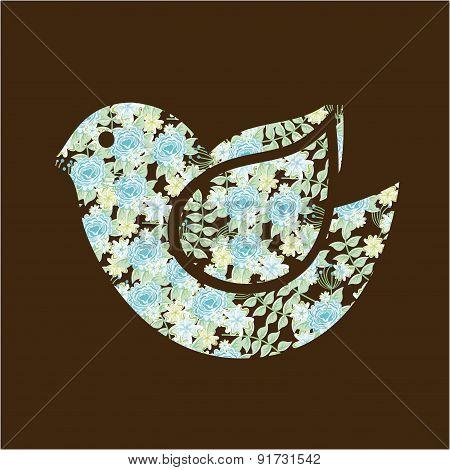 Floral Bird design over brown background vector illustration
