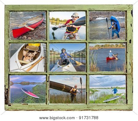 paddling vacation or recreation  concept - paddling kayak, canoe, SUP and packraft through vintage window, all pictures copyright by the photographer with the same model (self)