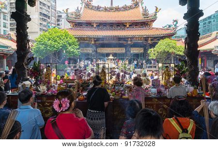tourist and believers come to Longshan Temple, Taiwan