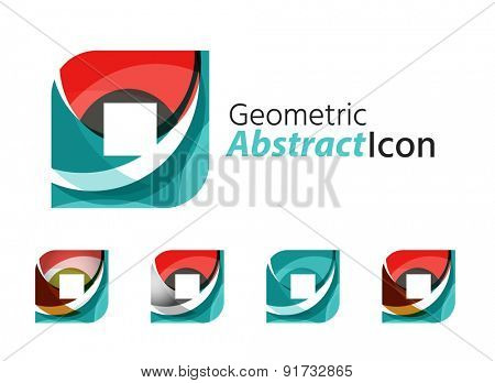 Set of abstract geometric company logo square, rhomb. Vector illustration of universal shape concept made of various wave overlapping elements