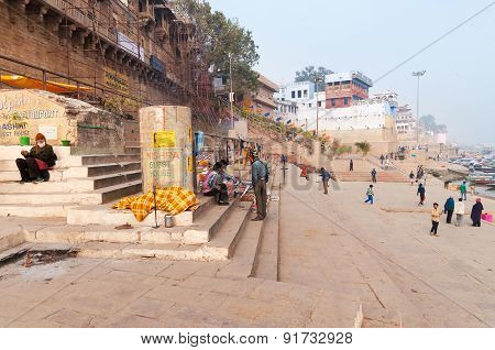 Manmandir Ghat  In Varanasi On The Ganges River