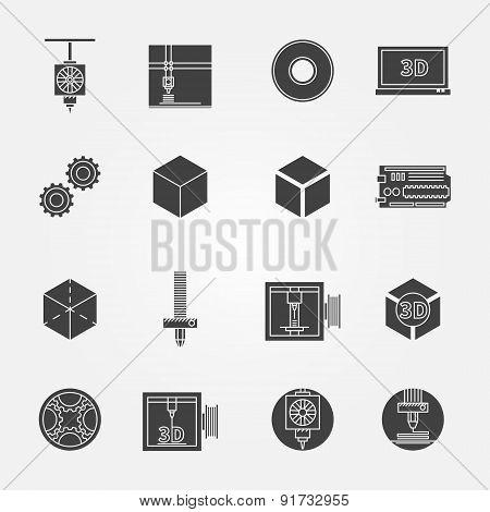 3D print icons black vector set