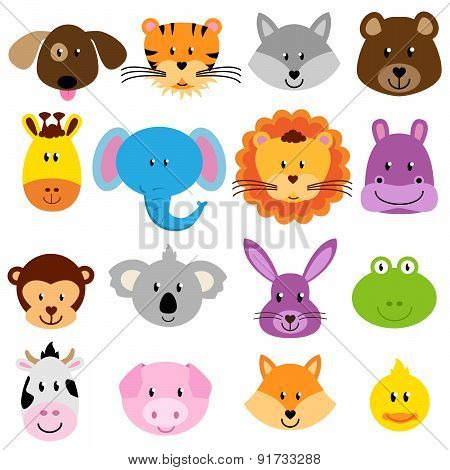 Vector Zoo Animal Faces Set