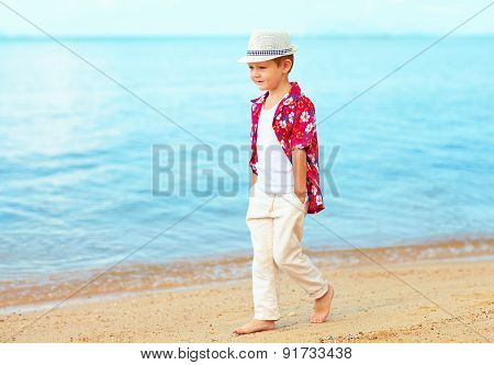 Handsome Fashionable Kid, Boy Walking On Sandy Beach