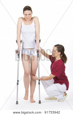 woman with crutches
