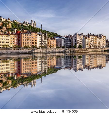 Square View Lyon City With Reflection In Soane