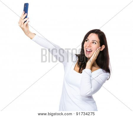 Woman take selfie on smart phone