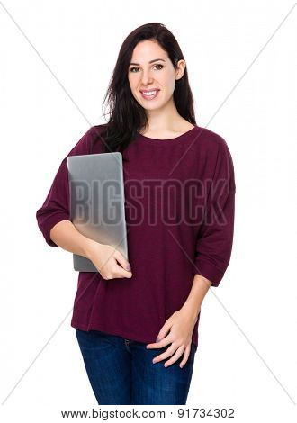 Caucasian woman holding with laptop computer
