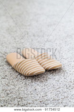 Slippers on the floor carpet