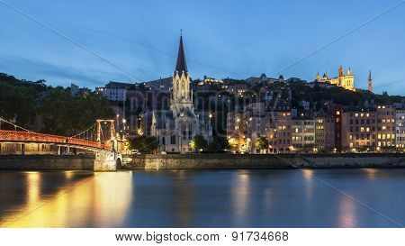 Panoramic Blue Hour View Of Lyon With Saone River