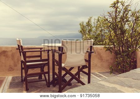 Beautiful resort terrace, Greece