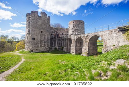 Medieval Russian Koporye fortress with two towers and bridge