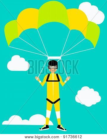 Parachutist on background sky. Concept of active rest. Vector illustration