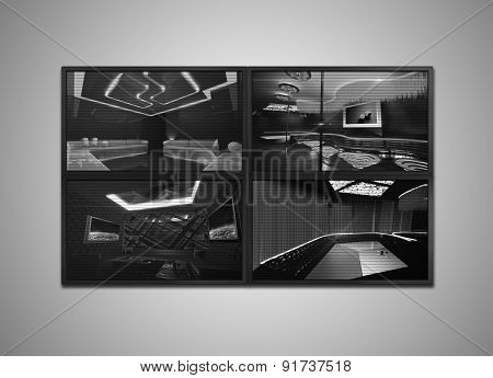 Cctv Monitor Grey Tone Display For Nightclub Interior