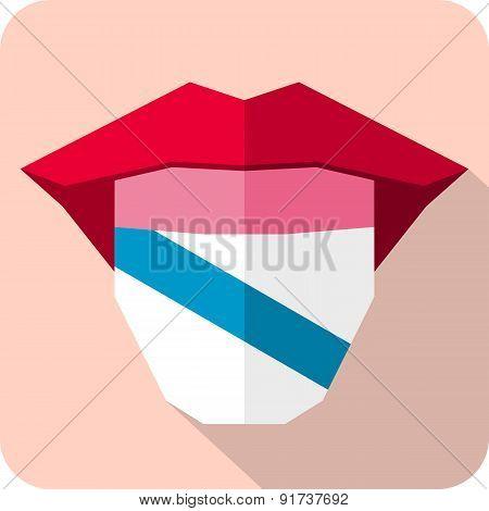 Tongue: Language Web Icon With Flag. Galicia