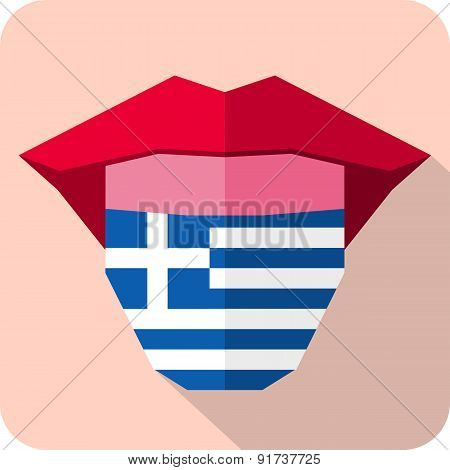 Tongue: Language Web Icon With Flag. Greece