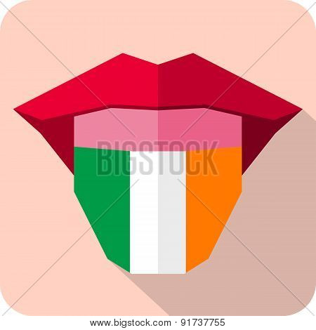 Tongue: Language Web Icon With Flag. Ireland