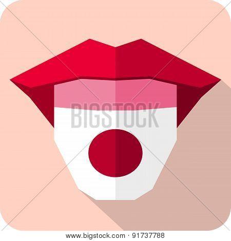 Tongue: Language Web Icon With Flag. Japan
