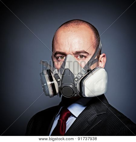 portrait of businessman wear protection mask