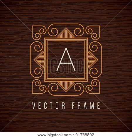 Vector mono line frame. Art deco monogram design element.
