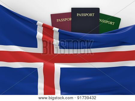 Travel and tourism in Iceland, with assorted passports