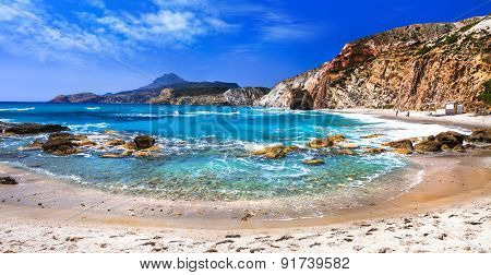 beautiful scenic beaches of Greek islands - Fyriplaka on Milos island