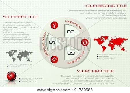 Vector infographic template. Business concept with display for text, numbers and icons. World map and earth globe